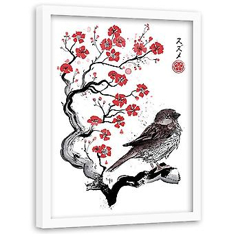 Picture In Natural Frame, Sparrow On Japanese Cherry