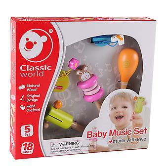 Klassisk verden-5 Piece baby musikk sett, musikkinstrumenter for små barn og baby Learning