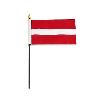 """Latvia medium hand flag 9"""" x 6"""""""
