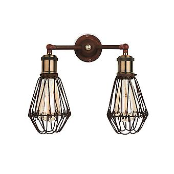 Firstlight Arcade 2 Light Wall Cage Light Rustic Brown 3713RB