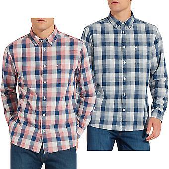 Wrangler Mens One Pocket Button Down Check Casual Cotton Long Sleeve Shirt Top