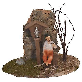 Weg Madonna met martelaar en bankjes en pijp opa accessoires voor Nativity Scene geboorte geboorte scène wieg accessoires