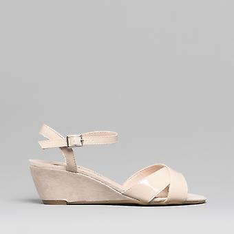Comfort Plus Gloria Ladies Patent Wedge Sandals Nude