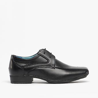 Front Snowden Boys Cuir Lacets Chaussures d'école noir