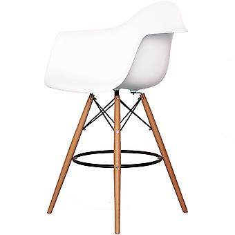 Charles Eames Style White Plastic Bar Stool With Arms