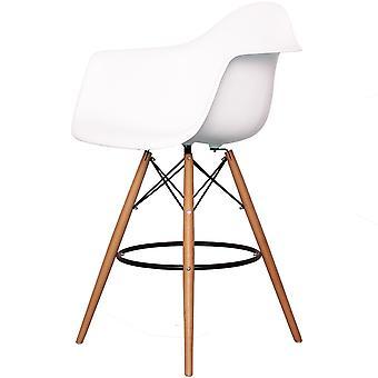 Charles Eames Styl Biały plastikowy stołek barowy z bronią