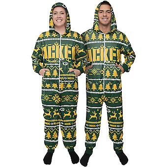 Green Bay Packers NFL Winter XMAS Hooded One Piece Suit