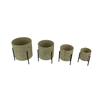 Speckled Beige Porcelain Modern Cylinder Planters with Stands Small Set of 4