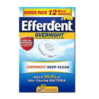 Efferdent pm tablet, overnight deep clean, mint, 90 ea