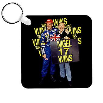 Motorsport Images Nigel Mansell With Stirling Moss At Silverstone 1991 Key Ring