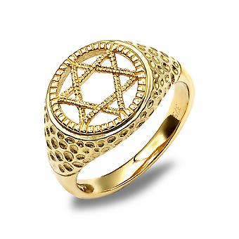 Jewelco London Unisex Solid 9ct Yellow Gold Hammered Magen Star of David Ring
