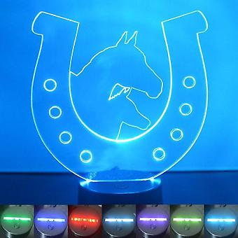 2 Horses in Horse shoe Colour Changing LED Acrylic Light