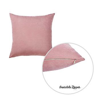 Sarja 2 vaaleanpunaista harjattu Twill koristeellinen heittää tyynynpäällinen