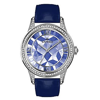 Empress Augusta Automatic Mosaic Mother-of-Pearl Leather-Band Watch - Silver/Blue