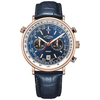 Rotary Men's Henley | Rose Gold PVD Case | Blue Leather |Blue Dial GS05237/05 Watch