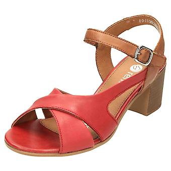 Remonte Slingback Crossover Sandals Block Heel Shoes D2151-33 Red