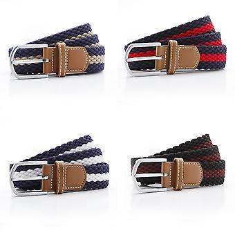 Asquith & Fox Mens Two Colour Stripe Braid Stretch Belt