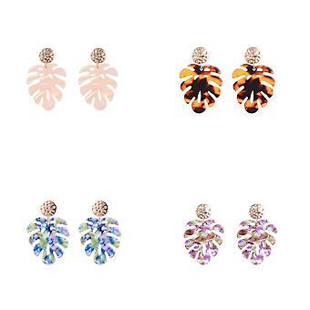 Jewelcity Sunkissed Womens/Ladies Palm Tree Leaf Earrings