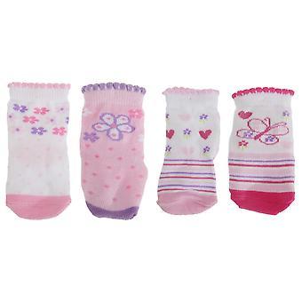 Bébé filles papillon/Floral Print chausson chaussettes (Pack de 4)