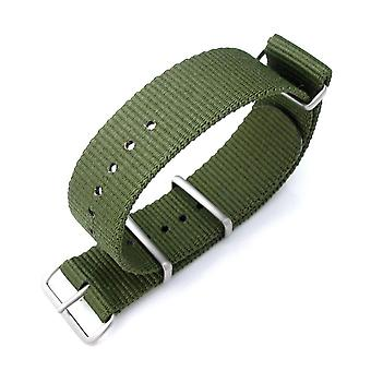 Strapcode n.a.t.o watch strap miltat 21mm g10 nato military watch strap ballistic nylon armband, brushed - forest green