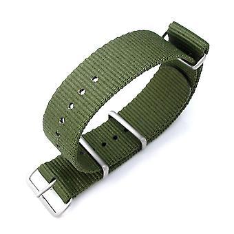 Strapcode n.a.t.o urrem miltat 21mm g10 nato militære urrem ballistiske nylon armbånd, børstet - skov grøn