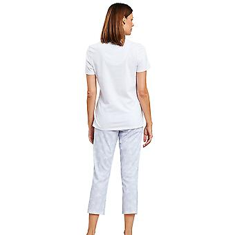 1203041-16402 Women-apos;s Smart Casual Blue Mono Flowers Floral Pyjama Set