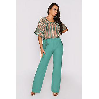 Auxence elastic waist short sleeve print contrast jumpsuit and rope belt in green and brick red