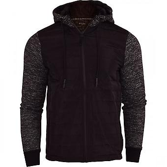 Brave Soul Mens Hooded Quilted Sweatshirt Bomber Jacket Zip Side Pockets