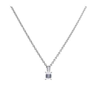 Diamonfire Silver With White Zirconia Emerald & Round Cut Pendant