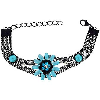 The Olivia Collection Girls-Ladies Black Mesh Bracelet with Blue Flower FJ216