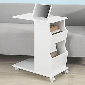 SoBuy White Wood Sofa Side Table With iPad Phone Holding Groove on Top, White FBT67-W,
