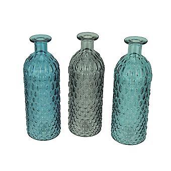 ブルー グリーンとグレーの装飾的な織り目加工ガラス瓶 3 個セット