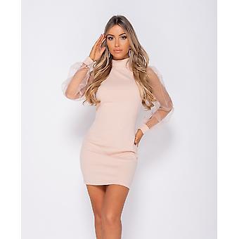 Organza Sheer Puff Long Sleeve Bodycon Mini Dress - - Pink