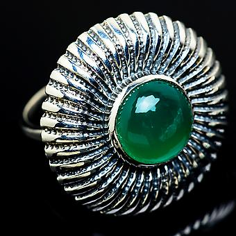 Large Green Onyx Ring Size 8.75 (925 Sterling Silver)  - Handmade Boho Vintage Jewelry RING8097