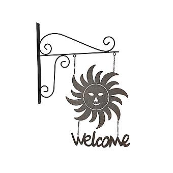 Country Cottage Smiling Sun Face Wall Mount Hanging Welcome Sign With Bracket