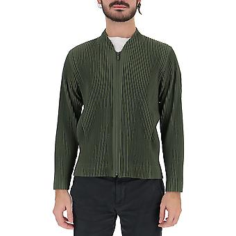 Homme Plissé By Issey Miyake Hp86jc15061 Men's Green Cotton Sweater