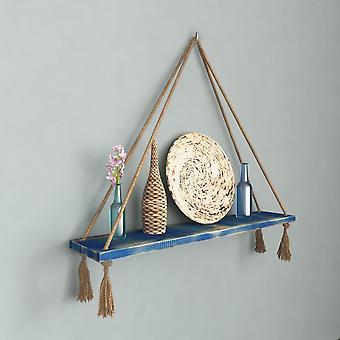Halatli Regal Farbe blau, Ecru Holz, Juta, L75xP15xA25 cm