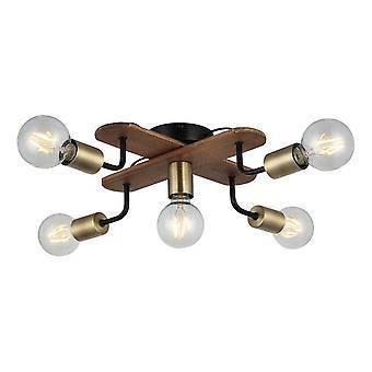 Budak Ceiling Lamp Couleur Or, Noir, Bois métal, Bois, L50xP50xA13 cm