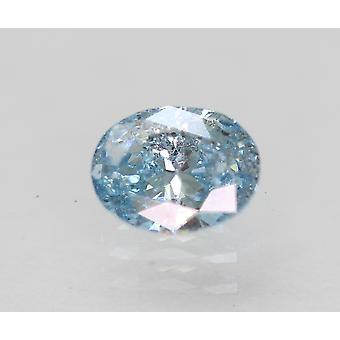 Certified 0.43 Carat Sky Blue SI1 Oval Enhanced Natural Diamond 5.56x4.27mm 2VG