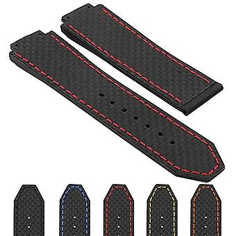 Watch strap made by strapsco for hublot big bang 25mm carbon fiber and rubber watch strap