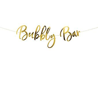 Bubbly Bar Gold Party Banner Birthday/Hen Party Banner 2m