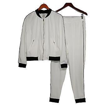 Masseys Set Piped Track Set Jacket & Pants White-Black
