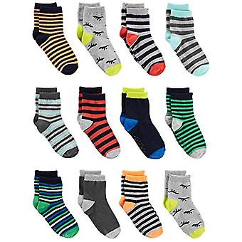 Simple Joys by Carter's Baby Boys' Toddler 12-Pack Sock Crew, Stripe, Dino, 2T/3T