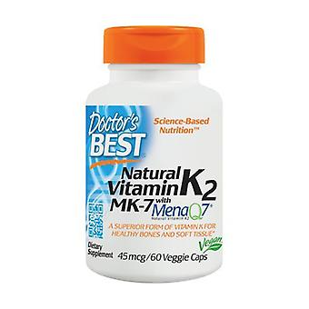Natural Vitamin K2 MK7 with MenaQ7, 45mcg 60 vegetable capsules