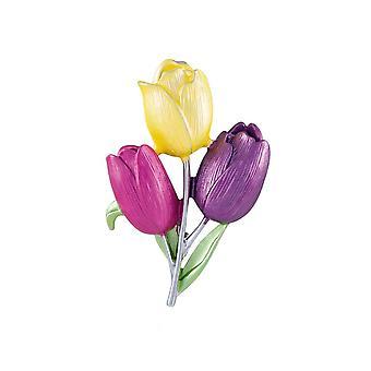 Eternal Collection Tulip Multi Coloured Enamel Flower Brooch