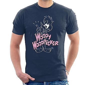 Woody Woodpecker Pink Logo Men's T-Shirt