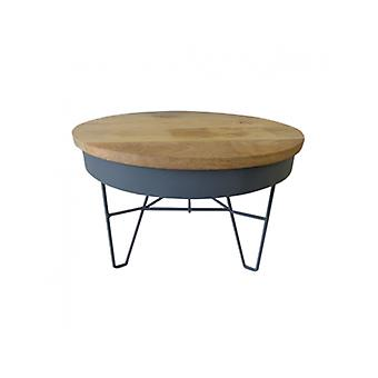 Deco4yourhome Iron Table Wood Top/Dark Grey L