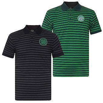 Celtic FC Mens Polo Shirt Striped Marl Yarn Dye OFFICIAL Football Gift