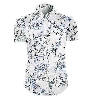 Allthemen Men's Casual Fashion Beach Printing Flowers Short Sleeve Shirt