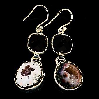 Coconut Geode Druzy, Musta Onyx korvakorut 1 3/4&; (925 Sterling Hopea) - Käsintehty Boho Vintage korut EARR405311